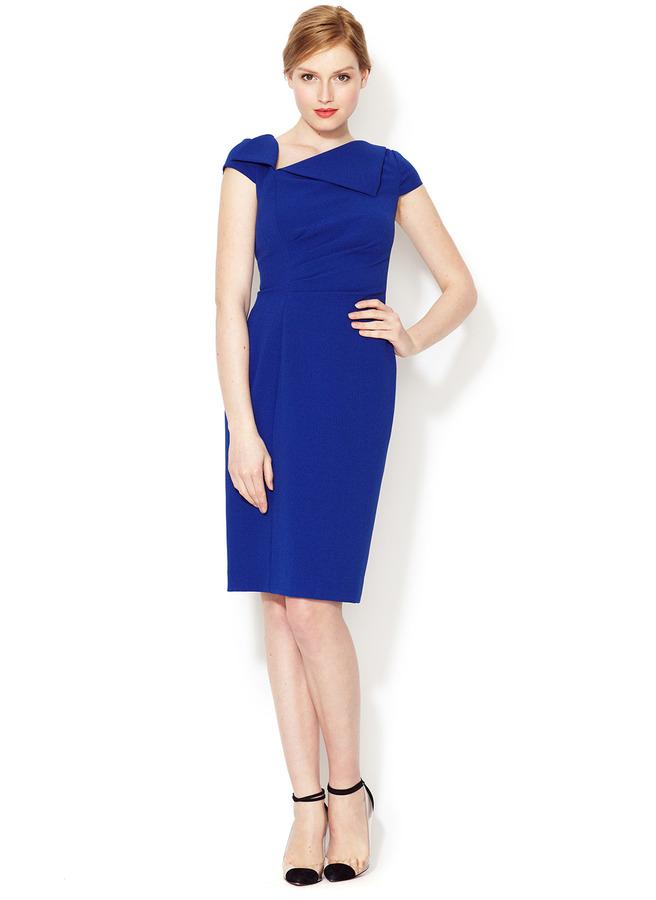 Tahari Folded Neckline Sheath Dress
