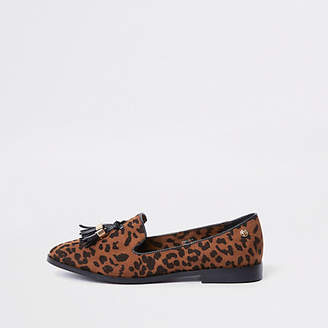 River Island Brown wide fit leopard print tassel loafers