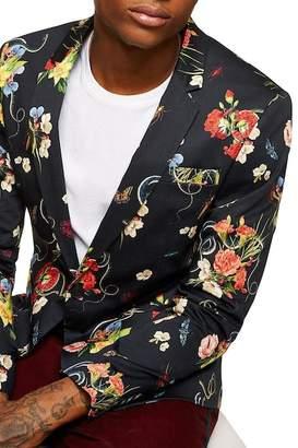 Topman Floral Print Skinny Fit Blazer