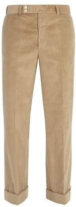 Maison Margiela Wide Leg Cotton Corduroy Trousers - Mens - Beige