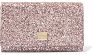 Jimmy Choo Lizzie Glittered Leather Clutch - Pink