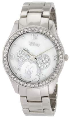 Disney Women's MK2128 Mickey Mouse Rhinestone Accent -Tone Bracelet Watch