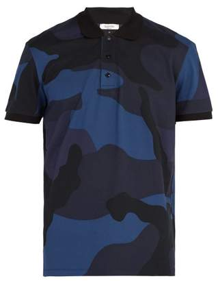 Valentino Camouflage Print Cotton Polo Shirt - Mens - Navy