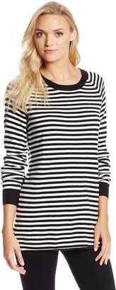 BCBGeneration Women's Mini Stripe Boyfriend Crew Neck Pullover Sweater, Black/Comb, Medium/Large