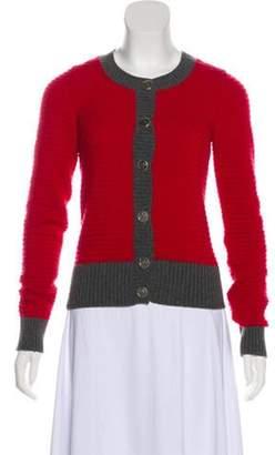 Chanel Rib Knit Cashmere Cardigan Red Rib Knit Cashmere Cardigan