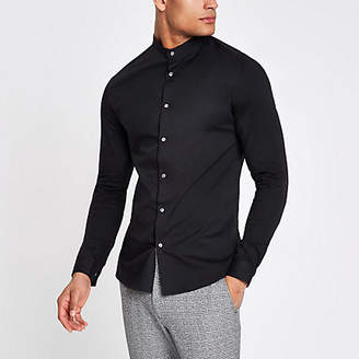 River Island Black poplin grandad collar muscle fit shirt