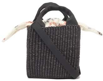 Muun Rita Woven Grass Box Bag - Womens - Brown Multi