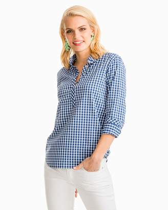 Southern Tide Gingham Intercoastal Hadley Performance Popover