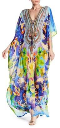 Shahida Parides 3-Way Convertible Embellished Print Long Silk Kaftan