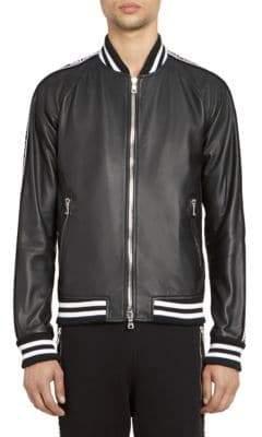 Balmain Men's Leather Bomber Jacket - Black - Size 48 (38)
