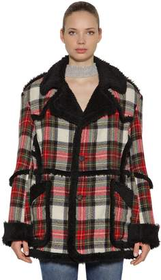 R 13 Wool Plaid & Faux Shearling Coat