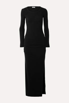 James Perse Ruched Brushed Cotton-blend Jersey Maxi Dress - Black