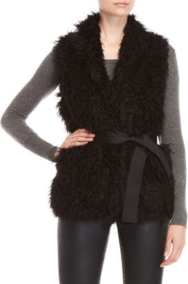 Zadig & Voltaire Fay Faux Fur Belted Vest