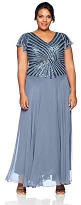 J Kara Women's Plus Size Pull on Long Dress with Beads