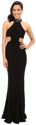 Faviana Jersey Jewl Neck Gown w/ Back Strap Detail 7728 Women's Dress