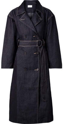 Current/Elliott The Hh Club Belted Double-breasted Denim Trench Coat - Dark denim