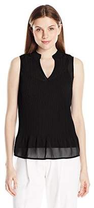 Lark & Ro Women's Sleeveless Pleated Chiffon Top