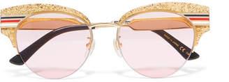 Gucci Cat-eye Glittered Acetate And Gold-tone Sunglasses