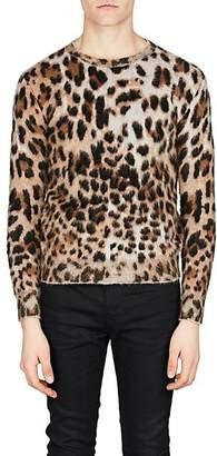 Saint Laurent Men's Leopard Jacquard Sweater - Beige, Tan