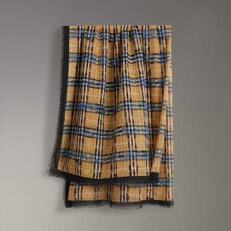 Burberry Scribble Check Cotton Large Square Scarf