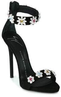 Giuseppe Zanotti Flower Crystal-Embroidered Suede Sandals