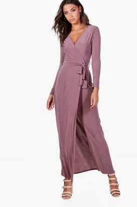 boohoo Tall Wrap Front Slinky Maxi Dress