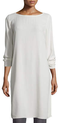 Eileen Fisher Silk Georgette Crepe Tunic, Black, Plus Size $338 thestylecure.com