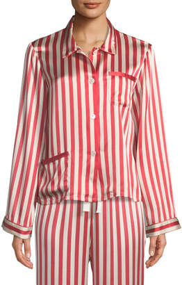 Americana Morgan Lane Ruthie Long-Sleeve Striped Silk Pajama Top
