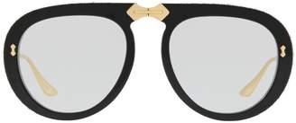 Gucci Diamanté Trim Thick-Frame Sunglasses