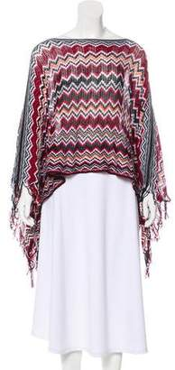 Missoni Bateau Neck Chevron Striped Poncho