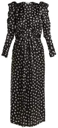 ATTICO Barcelona Floral Print Silk Chiffon Dress - Womens - Black White