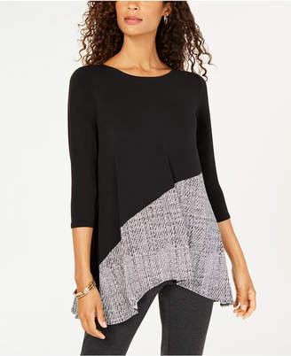 Alfani Petite 3/4-Sleeve Contrast Top, Created for Macy's