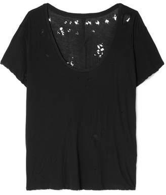Unravel Project - Distressed Slub Cotton-jersey T-shirt - Black