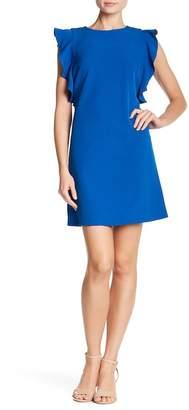 Nicole Miller Short Sleeve Ruffle Crepe Dress