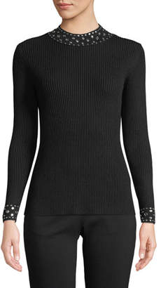 MICHAEL Michael Kors Embellished-Collar Ribbed Sweater