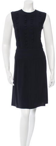 prada Prada Ruffle-Accented Knee-Length Dress