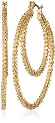 Nine West Women's -Tone 2 Row Hoop Earrings