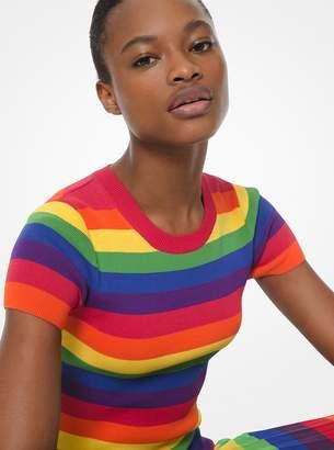 MICHAEL Michael Kors Rainbow Stretch-Viscose Short-Sleeve Sweater