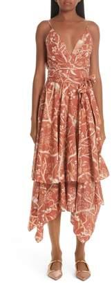 e5763ef7cd Johanna Ortiz Ruffled Bird Print Cotton Midi Dress