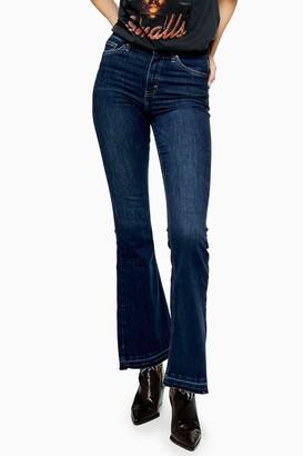 Topshop Indigo Let Hem Jamie Flare Jeans
