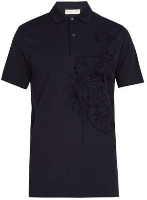 Etro Embossed Crest Cotton Polo Shirt - Mens - Blue