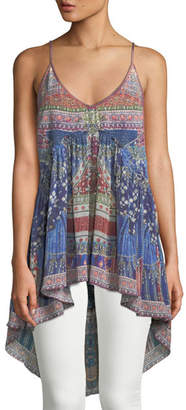 Camilla Printed Silk High-Low Tank Top