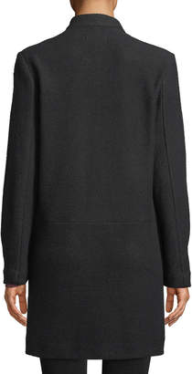 Anna Cai Notched Collar Open-Front Cardigan