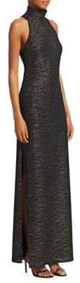Halston Metallic Knit Evening Gown