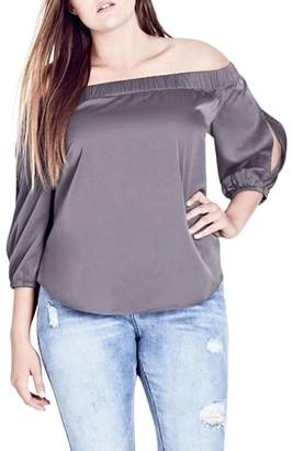 City Chic Off the Shoulder Satin Top