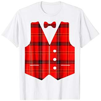 Plaid Pattern Vest With Bow-tie T-Shirt Tacky Ugly Christmas