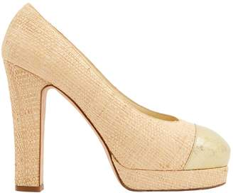 Chanel Beige Cloth Heels