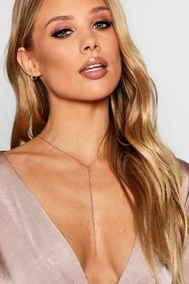 boohoo Skinny Chain Plunge Necklace