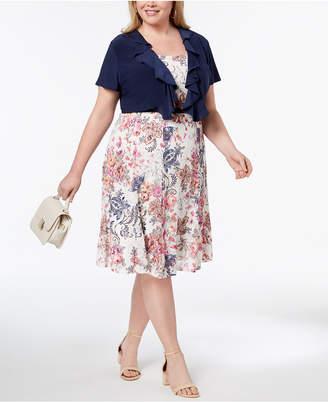 R & M Richards Plus Size Belted Printed Lace Dress & Ruffle Jacket