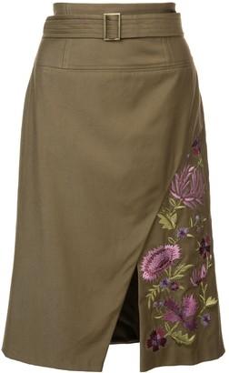 Josie Natori embroidered twill slit skirt